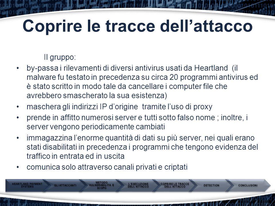 Coprire le tracce dell'attacco Il gruppo: by-passa i rilevamenti di diversi antivirus usati da Heartland (il malware fu testato in precedenza su circa