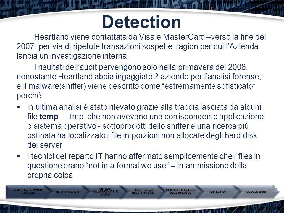 Detection Heartland viene contattata da Visa e MasterCard –verso la fine del 2007- per via di ripetute transazioni sospette, ragion per cui l'Azienda