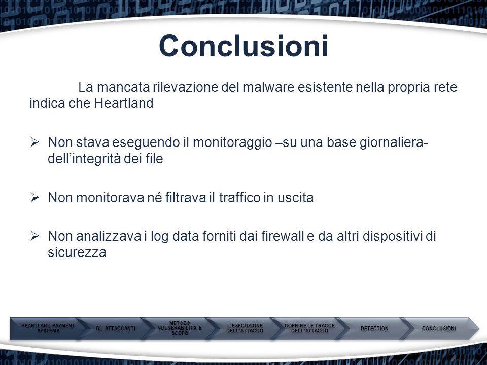 Conclusioni La mancata rilevazione del malware esistente nella propria rete indica che Heartland  Non stava eseguendo il monitoraggio –su una base gi