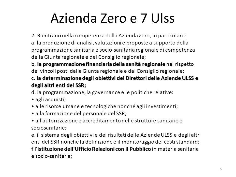 Azienda Zero e 7 Ulss A far data dal 1 gennaio 2016, le Aziende ULSS del SSR sono le seguenti Azienda ULSS 1 «Dolomitica» con sede a Belluno; Azienda ULSS 2 Marca Trevigiana con sede a Treviso; Azienda ULSS 3 Serenissima con sede a Venezia; Azienda ULSS 4 Polesana con sede a Rovigo; Azienda ULSS 5 Euganea con sede a Padova; Azienda ULSS 6 Berica con sede a Vicenza; Azienda ULSS 7 Scaligera con sede a Verona.