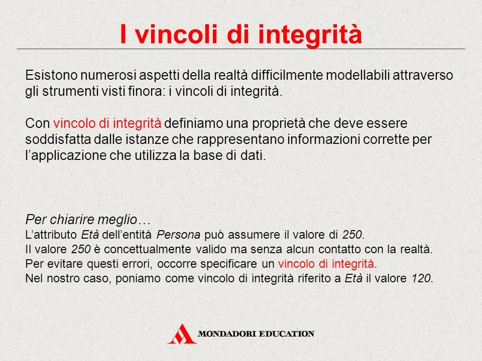 I vincoli di integrità Esistono numerosi aspetti della realtà difficilmente modellabili attraverso gli strumenti visti finora: i vincoli di integrità.