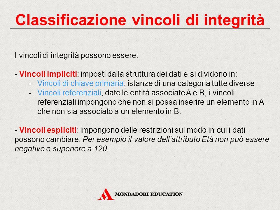 Classificazione vincoli di integrità I vincoli di integrità possono essere: - Vincoli impliciti: imposti dalla struttura dei dati e si dividono in: -V