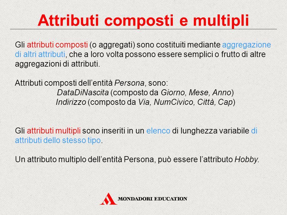Attributi composti e multipli Gli attributi composti (o aggregati) sono costituiti mediante aggregazione di altri attributi, che a loro volta possono