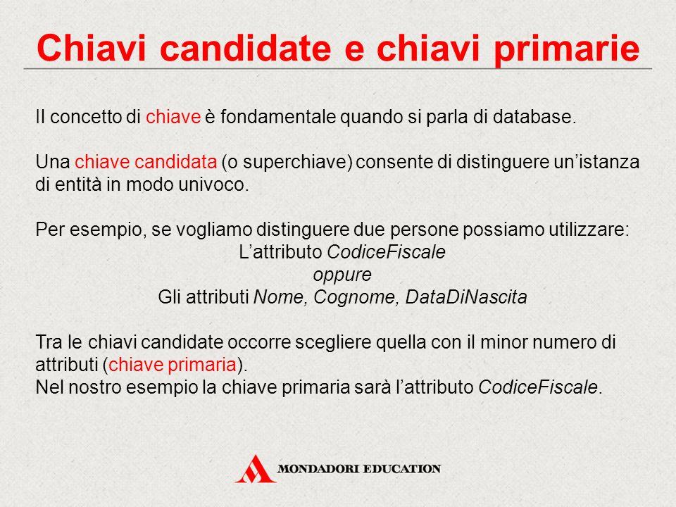 Chiavi candidate e chiavi primarie Il concetto di chiave è fondamentale quando si parla di database. Una chiave candidata (o superchiave) consente di