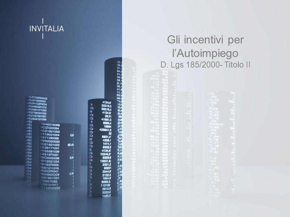 Slide titolo Gli incentivi per l'Autoimpiego D. Lgs 185/2000- Titolo II