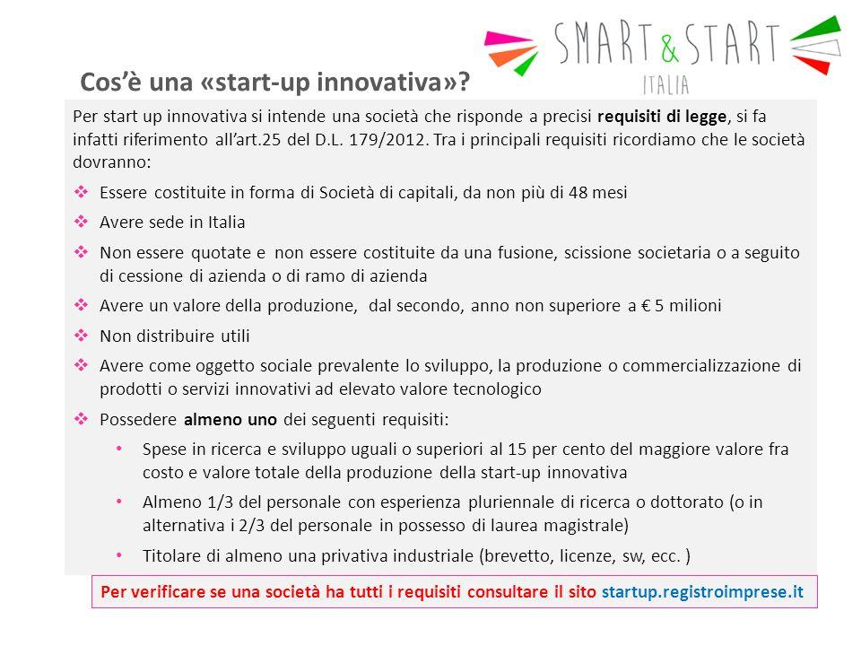Per start up innovativa si intende una società che risponde a precisi requisiti di legge, si fa infatti riferimento all'art.25 del D.L.