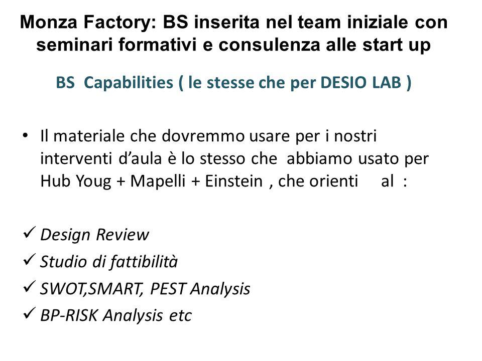 Monza Factory: BS inserita nel team iniziale con seminari formativi e consulenza alle start up BS Capabilities ( le stesse che per DESIO LAB ) Il materiale che dovremmo usare per i nostri interventi d'aula è lo stesso che abbiamo usato per Hub Youg + Mapelli + Einstein, che orienti al : Design Review Studio di fattibilità SWOT,SMART, PEST Analysis BP-RISK Analysis etc