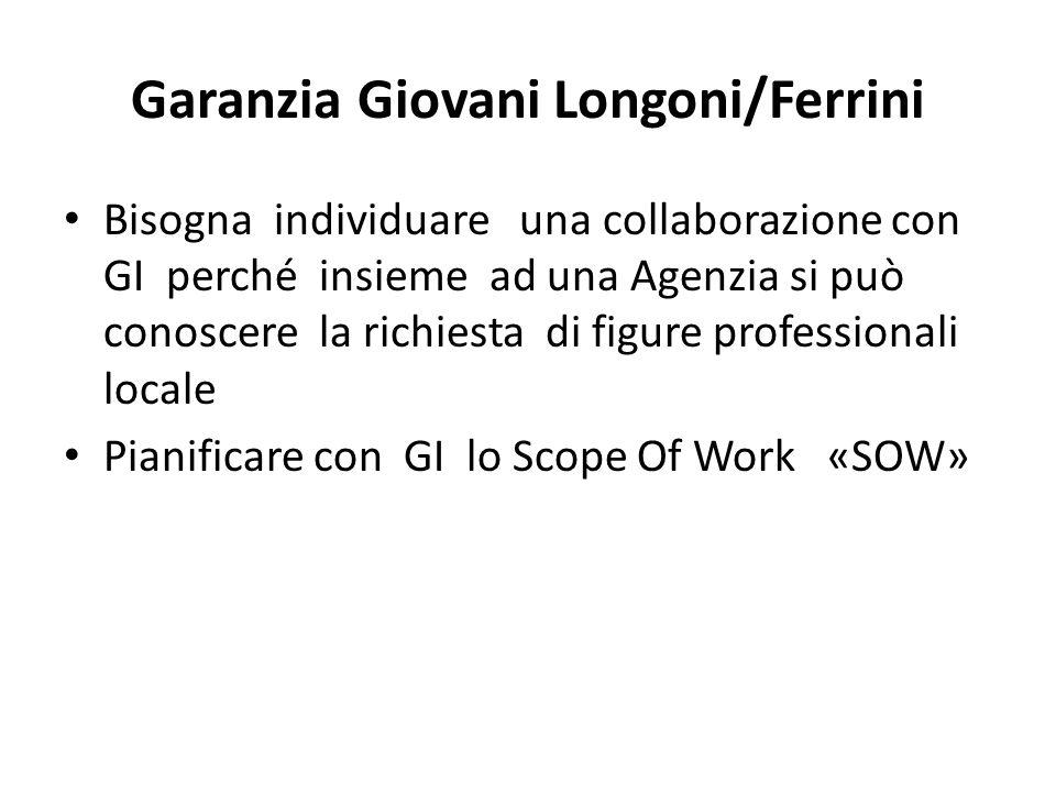 Garanzia GiovaniLongoni/Ferrini Bisogna individuare una collaborazione con GI perché insieme ad una Agenzia si può conoscere la richiesta di figure professionali locale Pianificare con GI lo Scope Of Work «SOW»