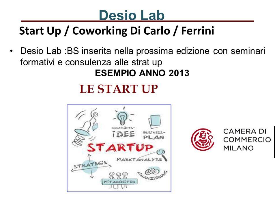 Desio Lab Desio Lab :BS inserita nella prossima edizione con seminari formativi e consulenza alle strat up ESEMPIO ANNO 2013 Start Up / CoworkingDi Carlo / Ferrini