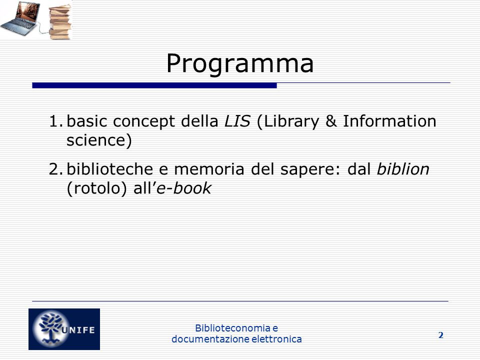 Biblioteconomia e documentazione elettronica 23 Alla ricerca di una definizione impossibile: il documento (2) The term 'document' is used in a specialized meaning as the technical term to denote the objects to which the techniques of documentation could be applied (Buckland 1997, p.