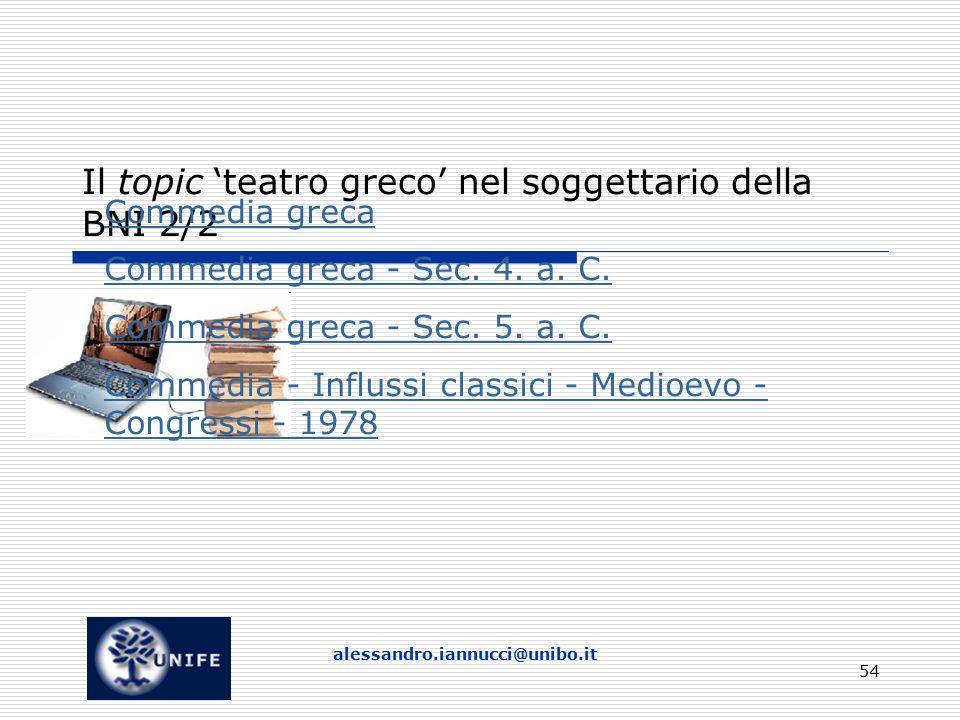 alessandro.iannucci@unibo.it 54 Il topic 'teatro greco' nel soggettario della BNI 2/2 Commedia greca Commedia greca - Sec.
