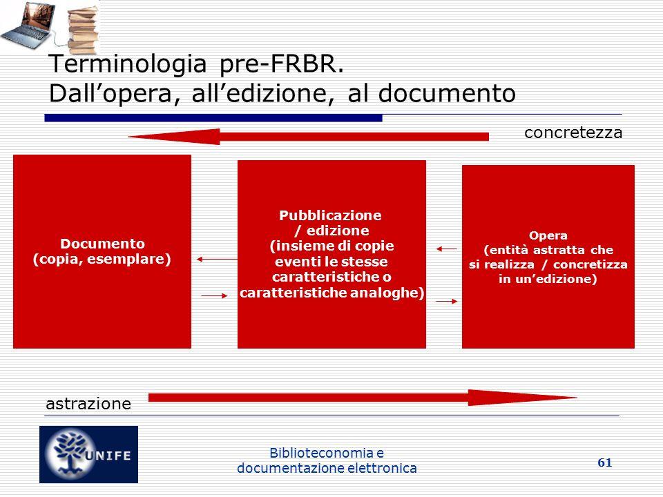 Biblioteconomia e documentazione elettronica 61 Terminologia pre-FRBR.