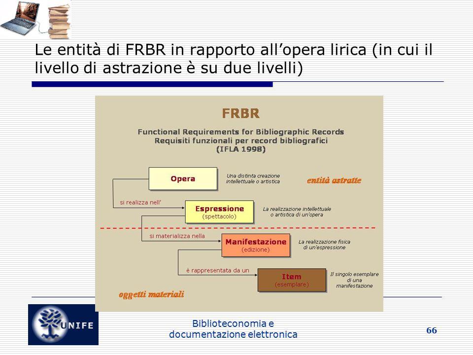 Biblioteconomia e documentazione elettronica 66 Le entità di FRBR in rapporto all'opera lirica (in cui il livello di astrazione è su due livelli)