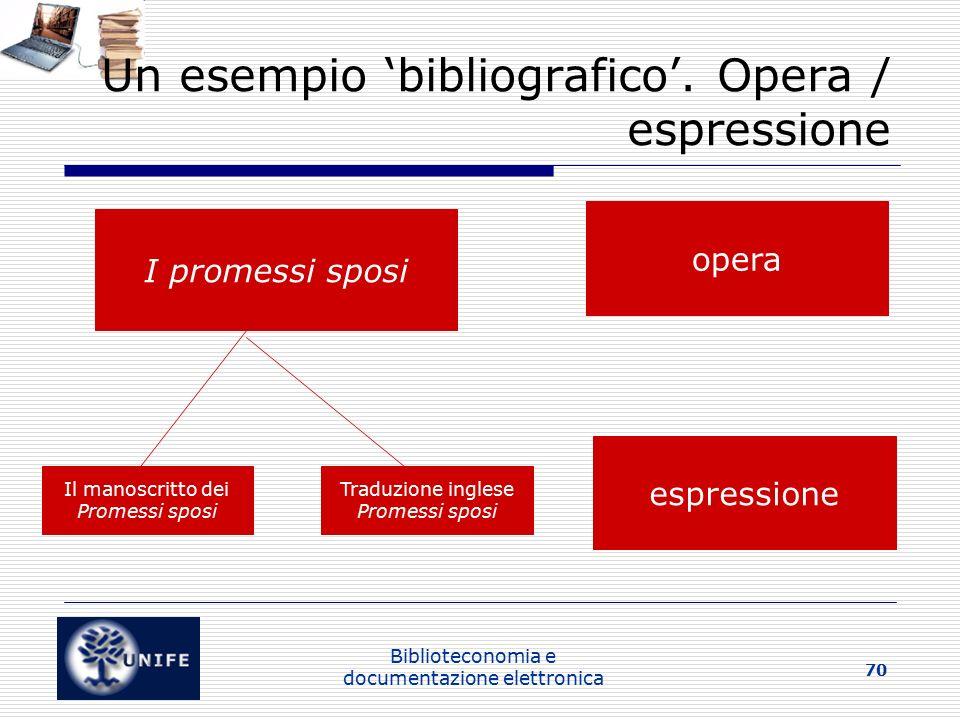 Biblioteconomia e documentazione elettronica 70 Un esempio 'bibliografico'.