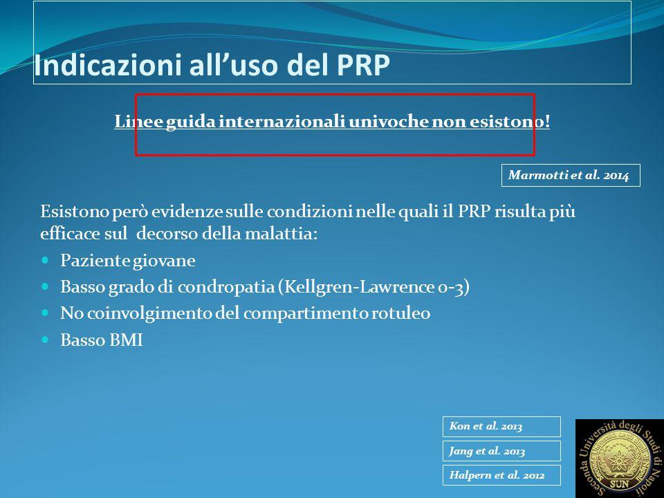 Indicazioni all'uso del PRP Linee guida internazionali univoche non esistono! Esistono però evidenze sulle condizioni nelle quali il PRP risulta più e