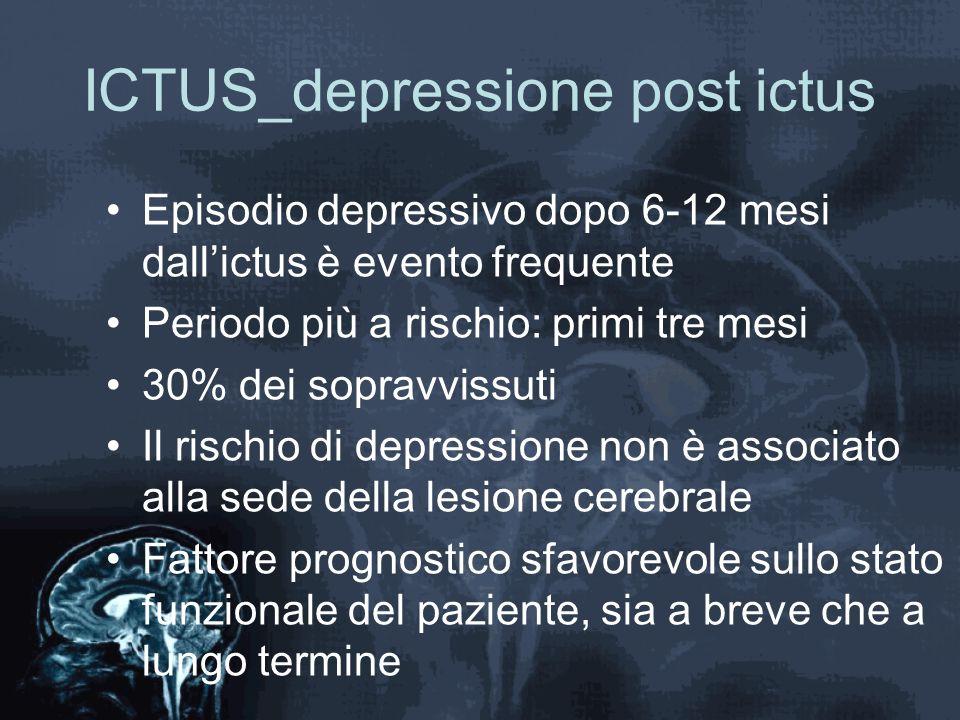 ICTUS_depressione post ictus Episodio depressivo dopo 6-12 mesi dall'ictus è evento frequente Periodo più a rischio: primi tre mesi 30% dei sopravviss