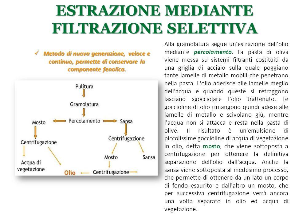 ESTRAZIONE MEDIANTE FILTRAZIONE SELETTIVA Metodo di nuova generazione, veloce e continuo, permette di conservare la componente fenolica. Metodo di nuo