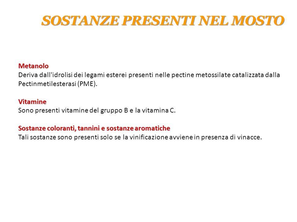 Metanolo Metanolo Deriva dall'idrolisi dei legami esterei presenti nelle pectine metossilate catalizzata dalla Pectinmetilesterasi (PME). Vitamine Vit