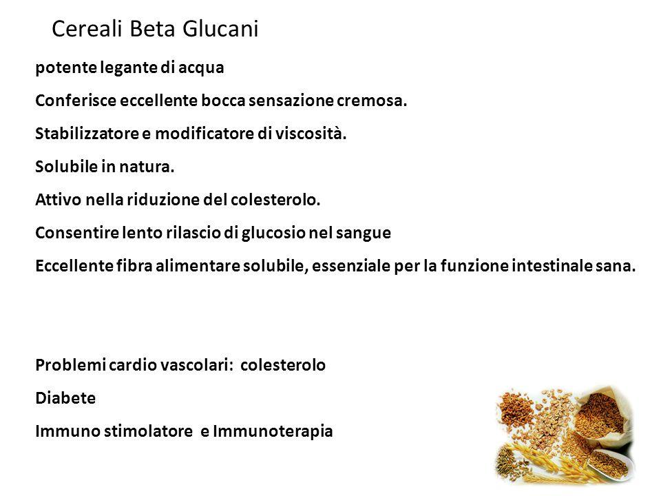 Cereali Beta Glucani potente legante di acqua Conferisce eccellente bocca sensazione cremosa. Stabilizzatore e modificatore di viscosità. Solubile in
