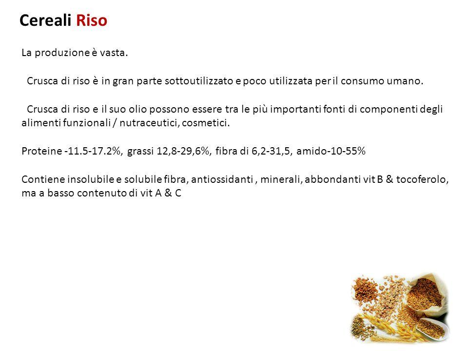 La produzione è vasta. Crusca di riso è in gran parte sottoutilizzato e poco utilizzata per il consumo umano. Crusca di riso e il suo olio possono ess