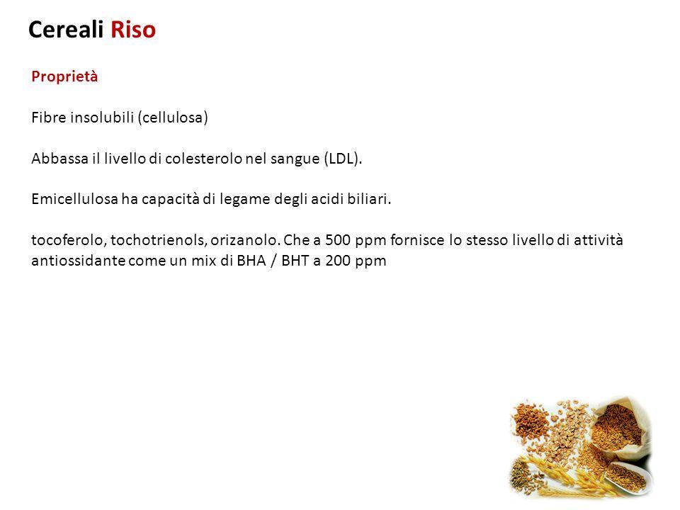 Proprietà Fibre insolubili (cellulosa) Abbassa il livello di colesterolo nel sangue (LDL). Emicellulosa ha capacità di legame degli acidi biliari. toc