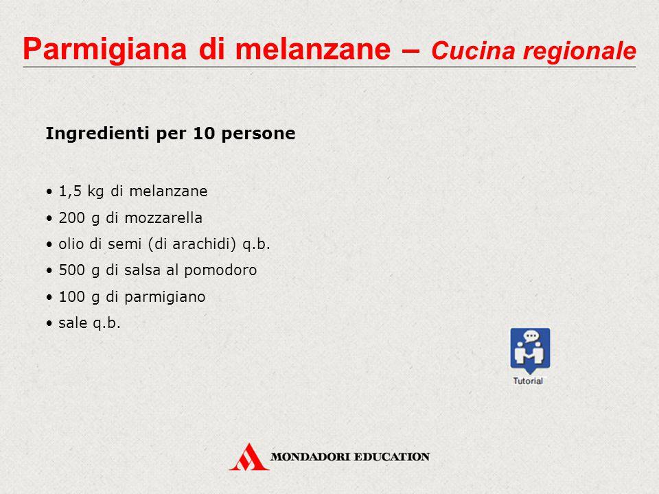 Parmigiana di melanzane – Cucina regionale Ingredienti per 10 persone 1,5 kg di melanzane 200 g di mozzarella olio di semi (di arachidi) q.b. 500 g di
