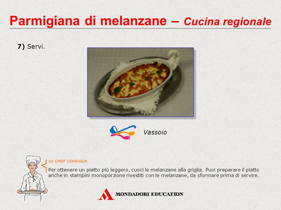 7) Servi. Vassoio Parmigiana di melanzane – Cucina regionale Per ottenere un piatto più leggero, cuoci le melanzane alla griglia. Puoi preparare il pi