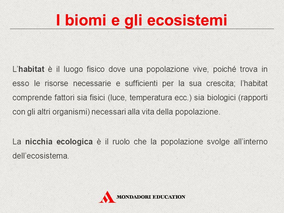 I biomi e gli ecosistemi L'habitat è il luogo fisico dove una popolazione vive, poiché trova in esso le risorse necessarie e sufficienti per la sua cr