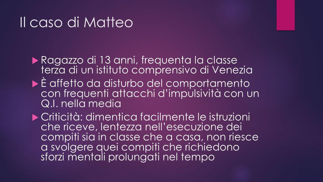 Il caso di Matteo  Ragazzo di 13 anni, frequenta la classe terza di un istituto comprensivo di Venezia  È affetto da disturbo del comportamento con frequenti attacchi d'impulsività con un Q.I.