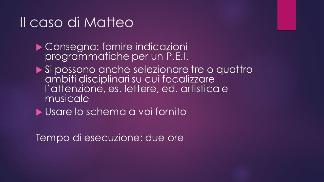 Il caso di Matteo  Consegna: fornire indicazioni programmatiche per un P.E.I.