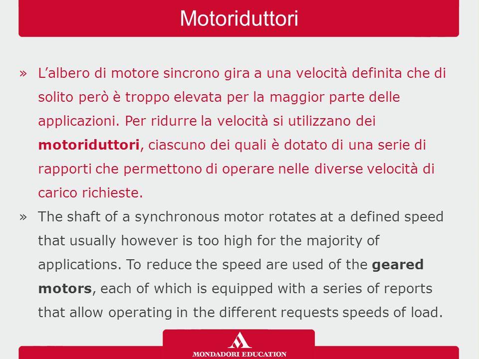 »L'albero di motore sincrono gira a una velocità definita che di solito però è troppo elevata per la maggior parte delle applicazioni.