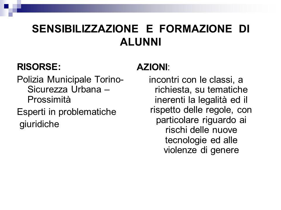 SENSIBILIZZAZIONE E FORMAZIONE DI ALUNNI RISORSE: Polizia Municipale Torino- Sicurezza Urbana – Prossimità Esperti in problematiche giuridiche AZIONI: