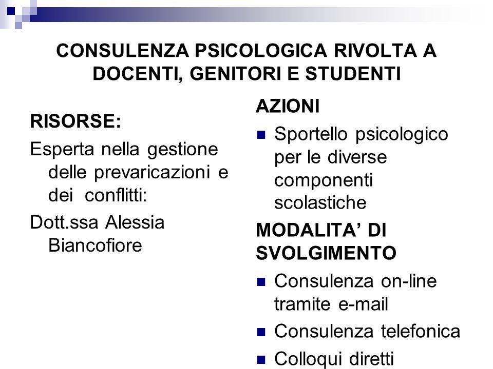 CONSULENZA PSICOLOGICA RIVOLTA A DOCENTI, GENITORI E STUDENTI RISORSE: Esperta nella gestione delle prevaricazioni e dei conflitti: Dott.ssa Alessia B