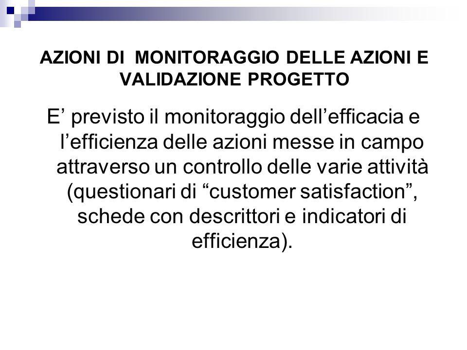 AZIONI DI MONITORAGGIO DELLE AZIONI E VALIDAZIONE PROGETTO E' previsto il monitoraggio dell'efficacia e l'efficienza delle azioni messe in campo attra