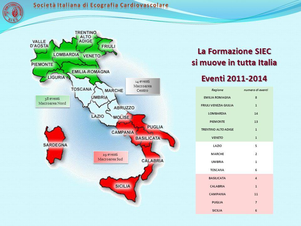 La Formazione SIEC si muove in tutta Italia Eventi 2011-2014 38 eventi Macroarea Nord 38 eventi Macroarea Nord Regionenumero di eventi EMILIA ROMAGNA8
