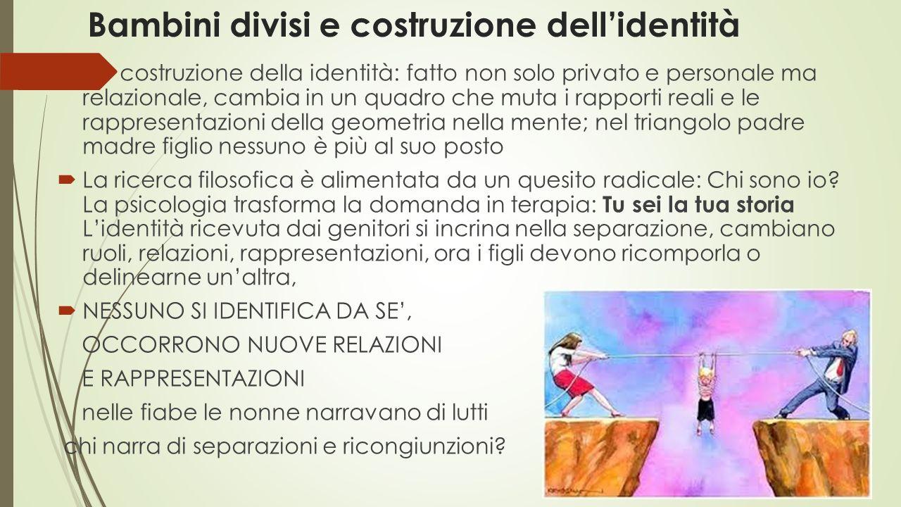 Bambini divisi e costruzione dell'identità  costruzione della identità: fatto non solo privato e personale ma relazionale, cambia in un quadro che mu