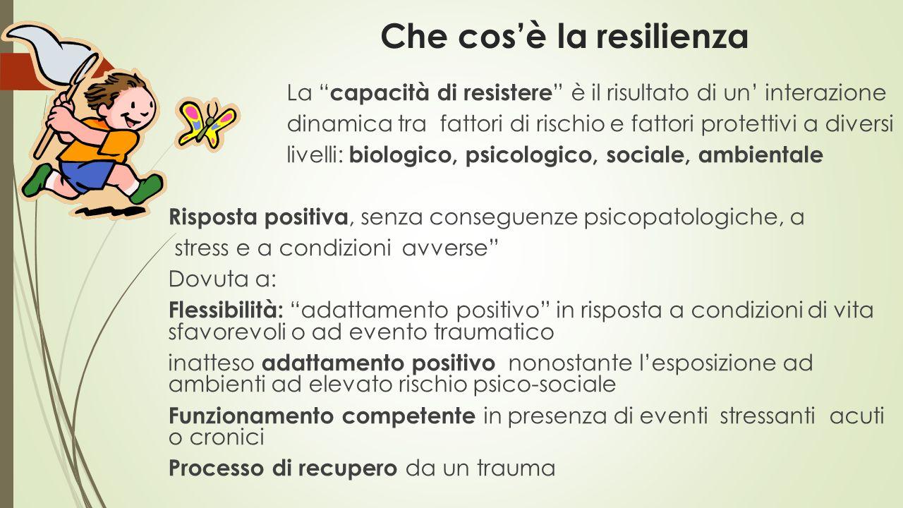 """Che cos'è la resilienza La """" capacità di resistere """" è il risultato di un' interazione dinamica tra fattori di rischio e fattori protettivi a diversi"""