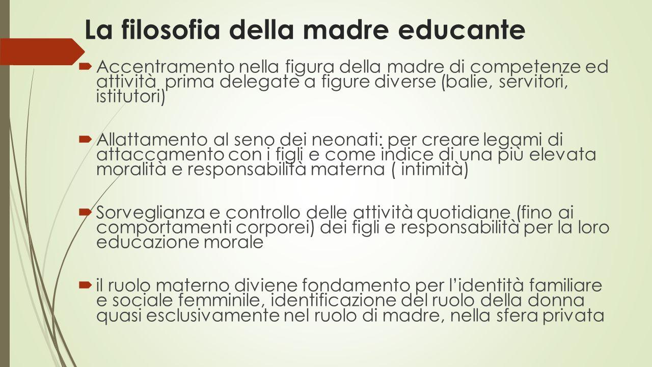La filosofia della madre educante  Accentramento nella figura della madre di competenze ed attività prima delegate a figure diverse (balie, servitori