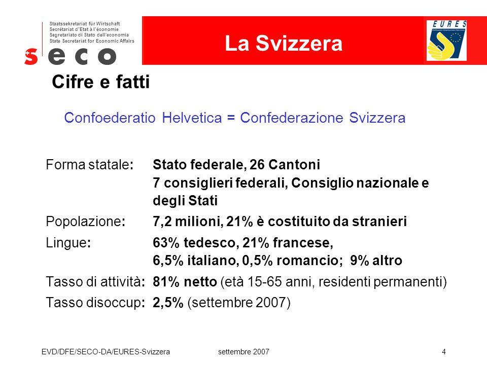 EURES - Svizzera Staatssekretariat für Wirtschaft Secrétariat d'Etat à l'économie Segretariato di Stato dell'economia State Secretariat for Economic A