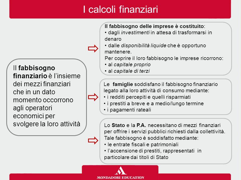I calcoli finanziari Il mercato dei capitali è l'insieme delle negoziazioni che intervengono fra coloro che offrono fondi (famiglie) e coloro che necessitano di fondi (imprese e Pubblica amministrazione).
