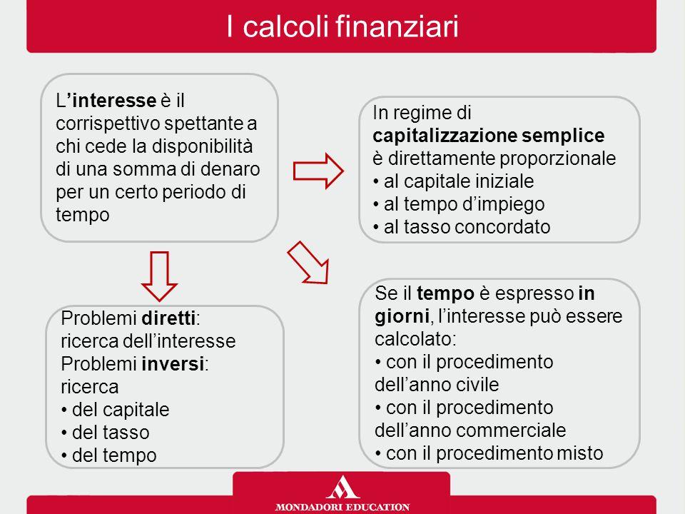 I calcoli finanziari L'interesse è il corrispettivo spettante a chi cede la disponibilità di una somma di denaro per un certo periodo di tempo In regi