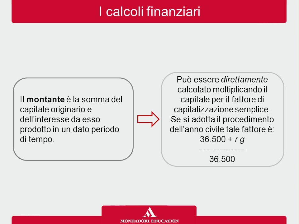I calcoli finanziari Il montante è la somma del capitale originario e dell'interesse da esso prodotto in un dato periodo di tempo. Può essere direttam