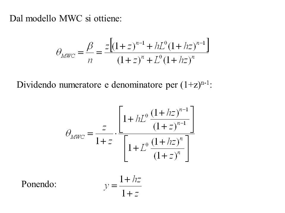 Dal modello MWC si ottiene: Dividendo numeratore e denominatore per (1+z) n-1 : Ponendo: