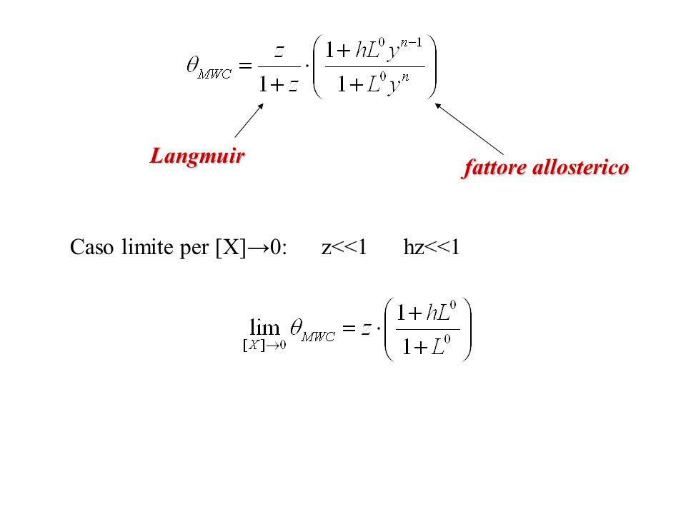 Langmuir fattore allosterico Caso limite per [X]→0: z<<1 hz<<1