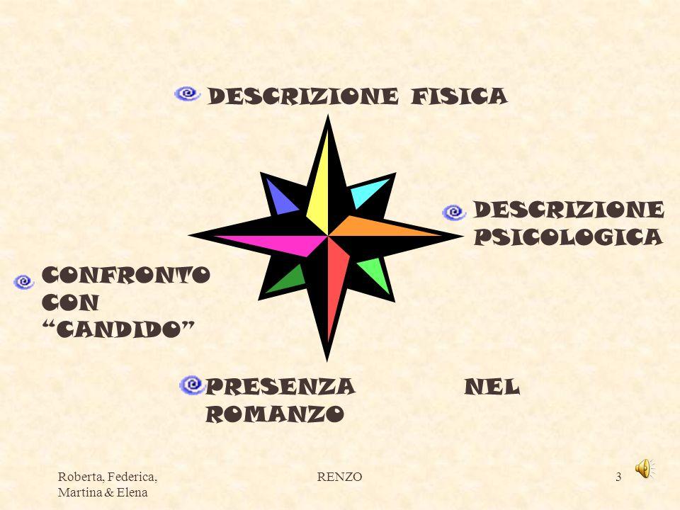 Roberta, Federica, Martina & Elena RENZO3 DESCRIZIONE FISICA DESCRIZIONE PSICOLOGICA CONFRONTO CON CANDIDO PRESENZA NEL ROMANZO