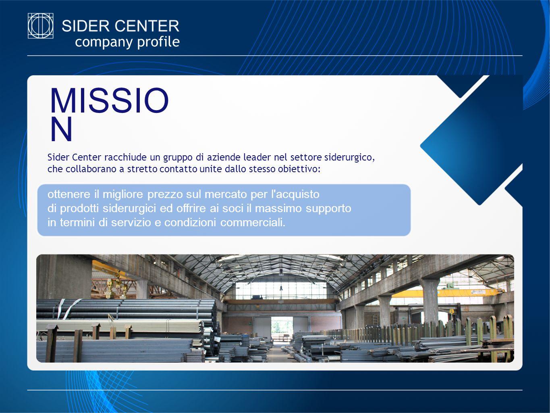 company profile MISSIO N Sider Center racchiude un gruppo di aziende leader nel settore siderurgico, che collaborano a stretto contatto unite dallo st