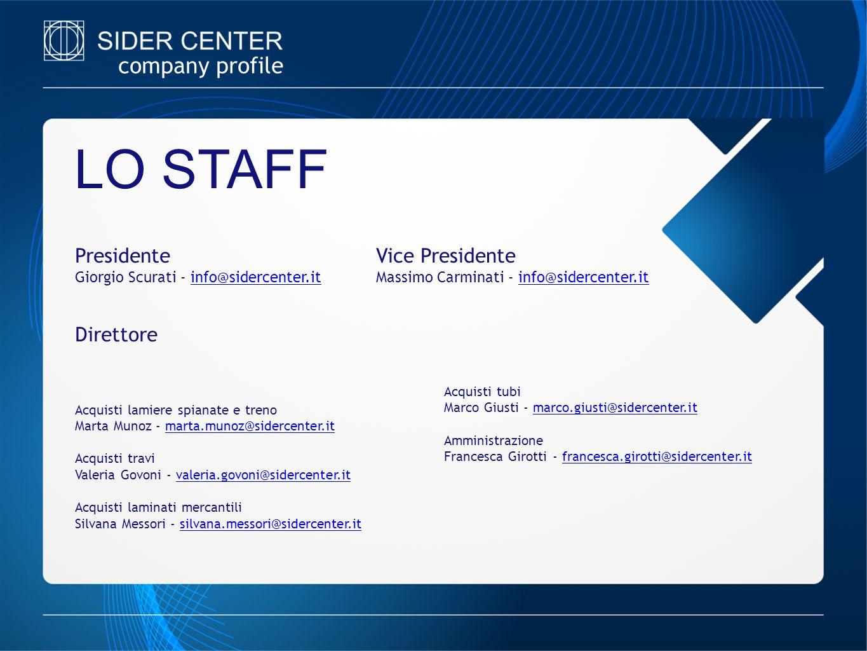 company profile Presidente Giorgio Scurati - info@sidercenter.itinfo@sidercenter.it LO STAFF Vice Presidente Massimo Carminati - info@sidercenter.itin