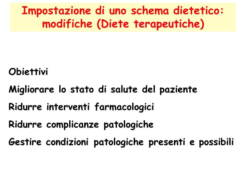 Diete terapeutiche Impostazione di uno schema dietetico: modifiche (Diete terapeutiche) Obiettivi Migliorare lo stato di salute del paziente Ridurre i