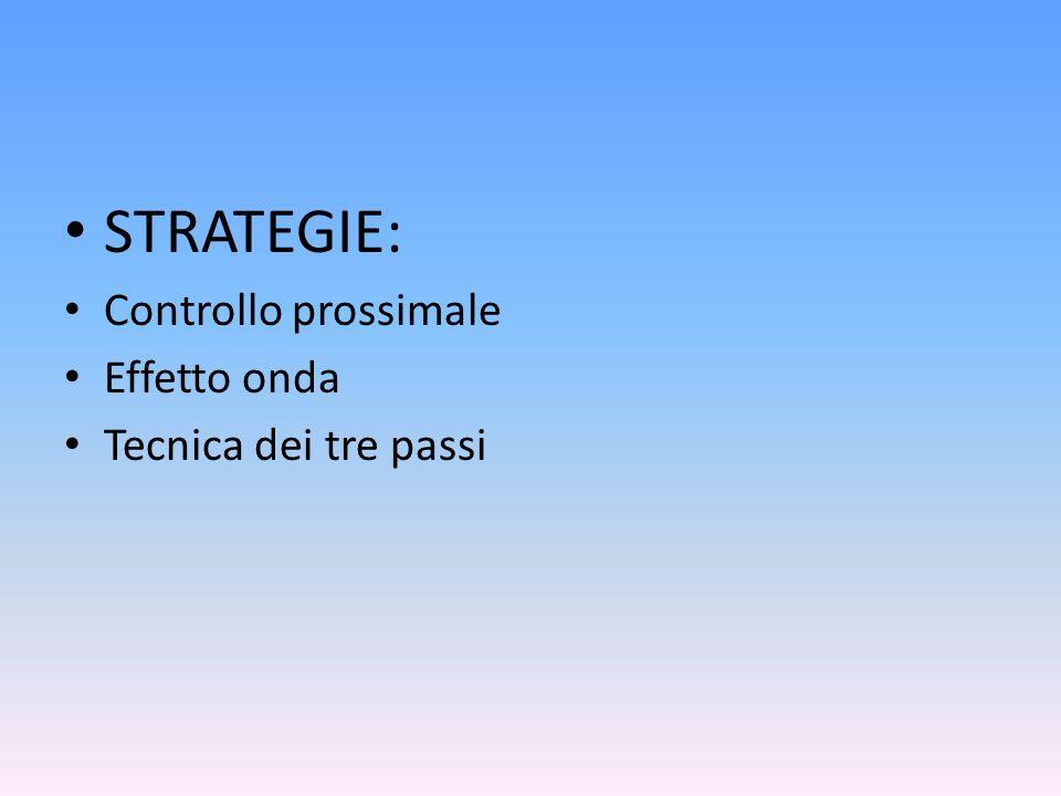 STRATEGIE: Controllo prossimale Effetto onda Tecnica dei tre passi