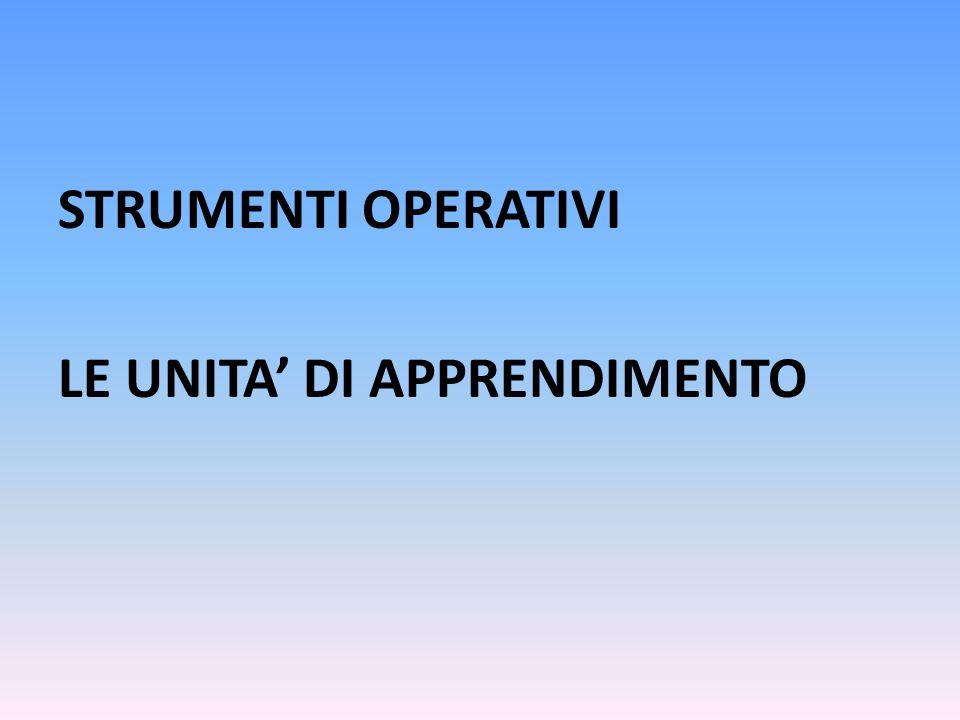 STRUMENTI OPERATIVI LE UNITA' DI APPRENDIMENTO